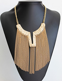 Fashion Gold Color Long Tassel Decorated Pure Olor Necklace
