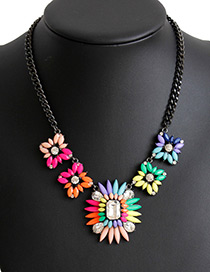 Fashion Multi-color Gemstone Decorated Flower Shape Necklace