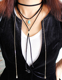 Fashion Black Tassel Decorated Multi-layer Necklace