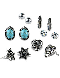 Fashion Antique Silver Leaf&star Shape Decorated Earrings Sets