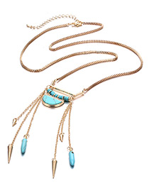 Trendy Gold Color Bullet&tassel Decorated Long Necklace