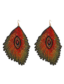 Trendy Red Leaf Shape Decorated Simple Earrings