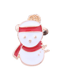 Lovely White Snowman Shape Decorated Ear Clip