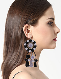 Exaggerated Gray+black Tassel Decorated Round Earrings