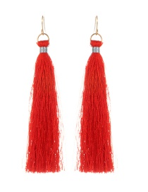 Fashion Red Pure Color Decorated Long Tassel Earrings