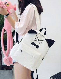 Fashion White Cat&butterfly Decorated Backpack