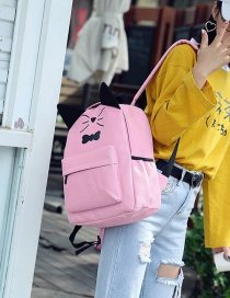 Fashion Pink Cat&butterfly Decorated Backpack