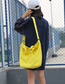 Fashion Yellow Pure Color Decorated Environmental Shoulder Bag