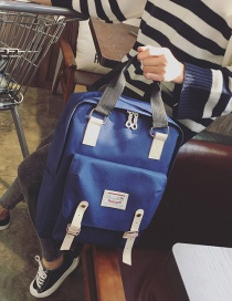 Fashion Sapphire Blue Letter Pattern Decorated Simple Backpack
