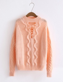 Fashion Pink Twist Shape Design Pure Color Sweater