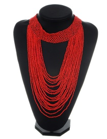 Exaggerated Red Pure Color Decorated Multilayer Necklace