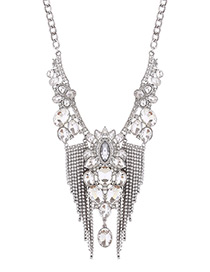 Luxury Silver Color Diamond Decorated Tasssel Necklace