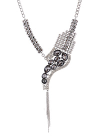 Luxury Gray Oval Shape Diamond Decorated Necklace