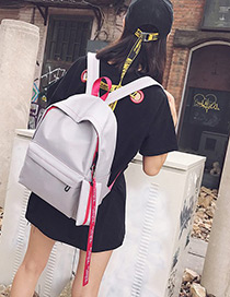 Fashion Gray Color-matching Decorated Backpack