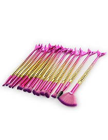 Lovely Gold Color+plum-red Mermaid Decorated Brush (15pcs)
