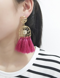 Elegant Plum-red Hollow Out Decorated Earrings