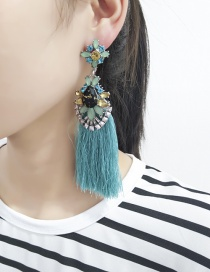 Elegant Blue Geometric Shape Decorated Tassel Earrings