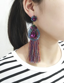 Bohemia Multi-color Waterdrop Shape Decorated Tassel Earrings
