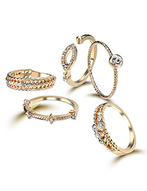 Elegant Gold Color Oval Shape Decorated Rings (5pcs)