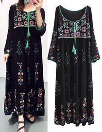 Bohemia Black Embroidery Flower Shape Decorated Long Dress