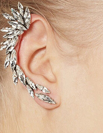 Personality White Oval Shape Diamond Decorated Ear Clip