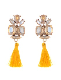 Elegant Yellow Geometric Shape Diamond Decorated Tassel Earrings