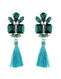 Elegant Blue Geometric Shape Diamond Decorated Tassel Earrings