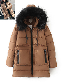 Fashion Khaki Fur Collar Decorated Coat