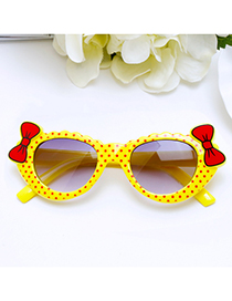 Lovely Yellow Bowknot Shape Decorated Children Sunglasses