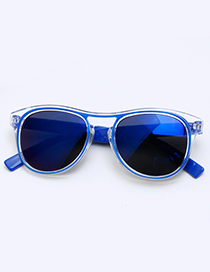 Fashion Sapphire Blue Color-matching Decorated Children Sunglasses