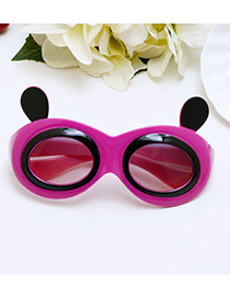Lovely Plum-red Panda Shape Decorated Children Sunglasses