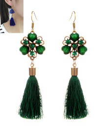 Vintage Green Flower Decorated Tassel Earrings