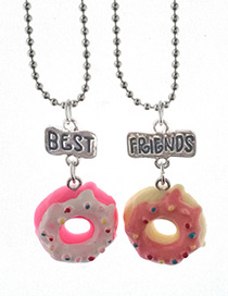 Cute Pink Donuts Shape Decorated Necklace (2pcs)