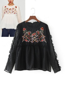 Elegant Black Embroidery Decorated Blouse