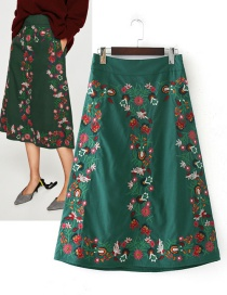 Vintage Green Embroidery Flower Decorated Dress
