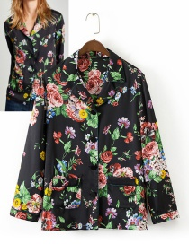 Fashion Multi-color Flower Decorated Blouse