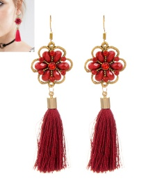 Bohemia Red Flower Decorated Tassel Earrings