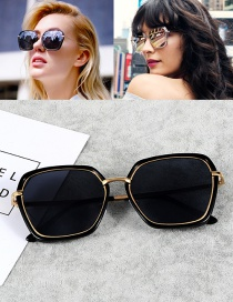 Fashion Black Square Shape Decorated Sunglasses