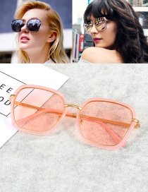 Fashion Pink Square Shape Decorated Sunglasses