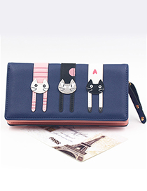 Cute Navy Cat Pattern Decorated Wallet