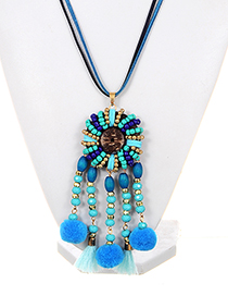 Exaggerated Blue Fuzzy Ball Decorated Pom Necklace