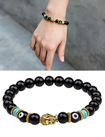 Fashion Black+gold Color Buddha Head Decorated Bracelet