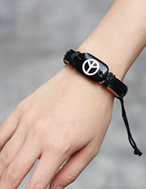 Fashion Black Peace Symbol Decorated Bracelet