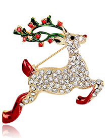 Fashion Gold Color+red+green Deer Shape Decorated Brooch