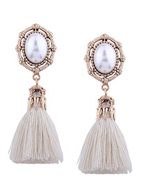 Vintage White Oval Shape Decorated Tassel Earrings