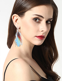 Fashion Light Blue Tassel Decorated Earrings