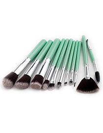 Fashion Green Sector Shape Decorated Makeup Brush ( 11 Pcs)