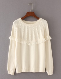 Fashion White Tassel Decorated Sweater