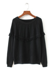 Fashion Black Tassel Decorated Sweater