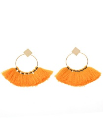 Fashion Yellow Tassel Decorated Sector Shape Earrings